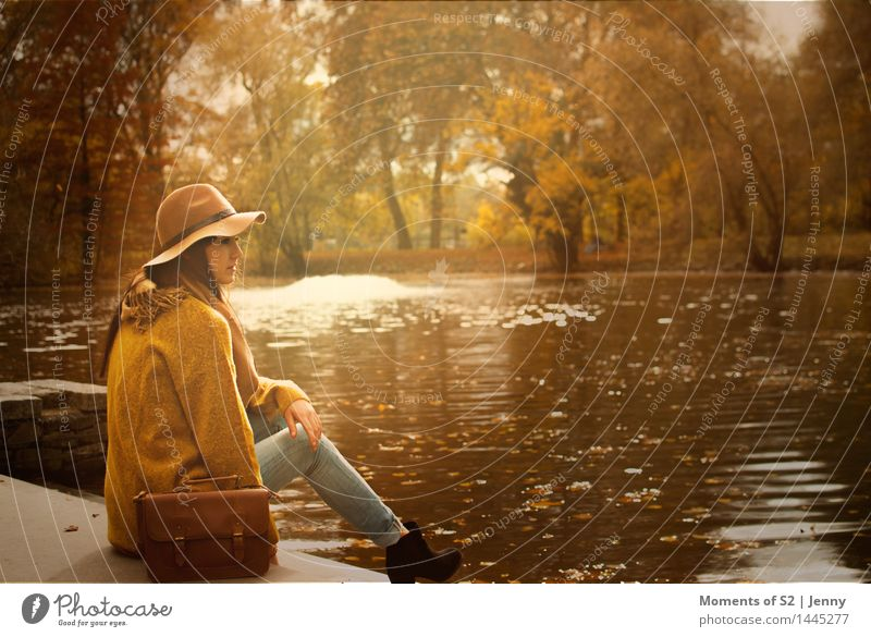 Human being Nature Youth (Young adults) Water 18 - 30 years Adults Yellow Warmth Autumn Feminine Style Fashion Brown Moody Park Contentment
