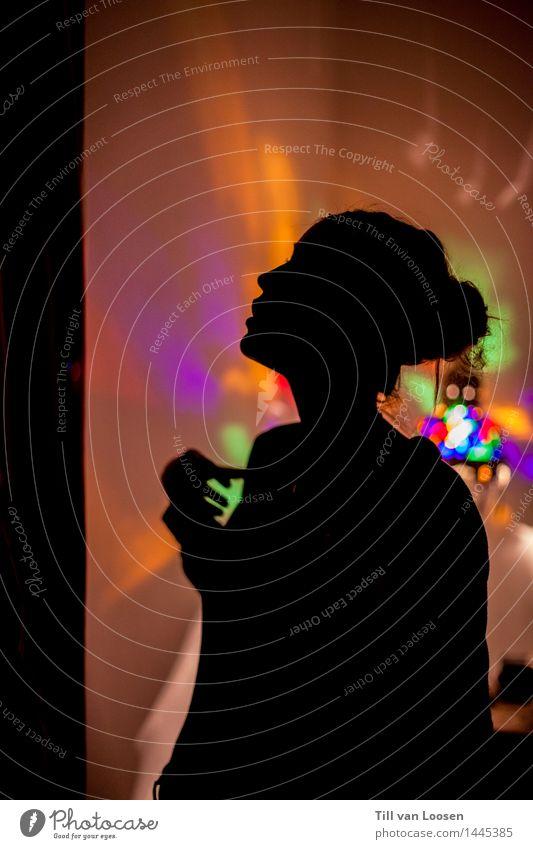 trippy lights Lamp Light Feminine 1 Human being Feasts & Celebrations Blue Orange Red Black Moody Silhouette Illuminate Night LSD Colour photo Interior shot