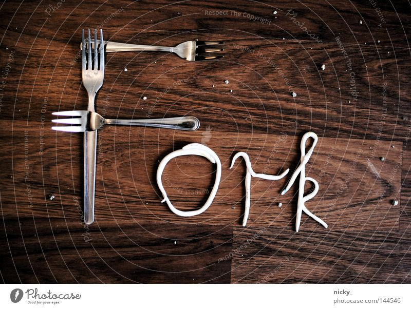FORK Fork Typography Letters (alphabet) Wood Cutlery Food Nutrition Gravel Graphic Characters Craft (trade) Kitchen Contemporary Image Illustration