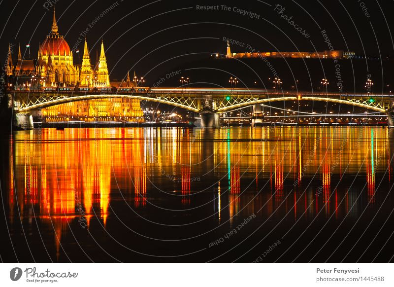 Abstract Reflections River Budapest Hungary Europe Capital city Deserted Bridge Tower Water Esthetic Glittering Historic Town Warmth Yellow Gold Red Calm Moody
