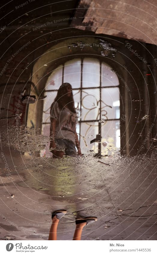 nothing half and nothing whole Feminine Legs Feet Industrial plant Factory Ruin Window Stand Surrealism Illusion Water Puddle Water puddle Wet Stone floor