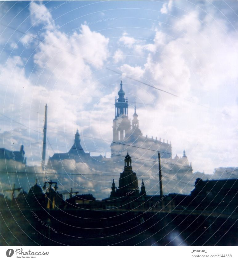 ghost town Dresden Old town Baroque Old times Shadow Ghosts & Spectres  Relief Town Lomography Weather Clouds Sky White Blue Dark Elbe Capital city Silhouette
