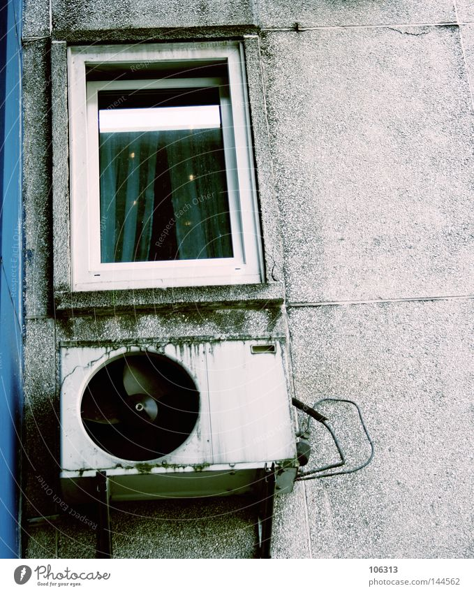 sick city House (Residential Structure) Town Facade Window Traffic infrastructure Old Dirty Blue Trash Ventilation Shaft Edge Bremen Air conditioning Warmth