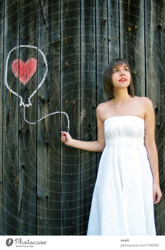 Loved Summer Wedding Woman Adults Clothing Dress Balloon Heart Draw Red White Longing Earmarked red lips loved Colour photo Portrait photograph Looking away