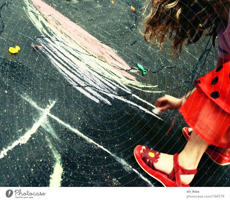 Child Girl Beautiful Red Joy Street Playing Happy Rain Footwear Dress Painting (action, work) Radiation Chalk Children's game