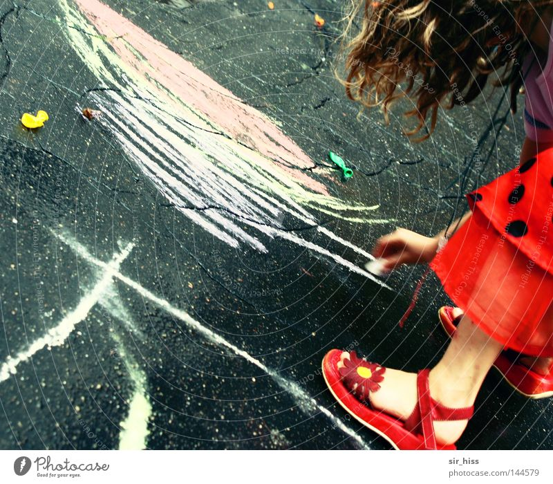 Child Girl Beautiful Red Joy Street Playing Happy Rain Footwear Dress Painting (action, work) Radiation Chalk Children's game