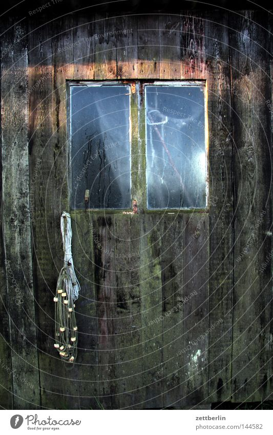 Sun Wood Glass Door Net Derelict Craft (trade) Entrance Window pane Barn Tar Fisherman Goldfish Pane Weathered Fishing net