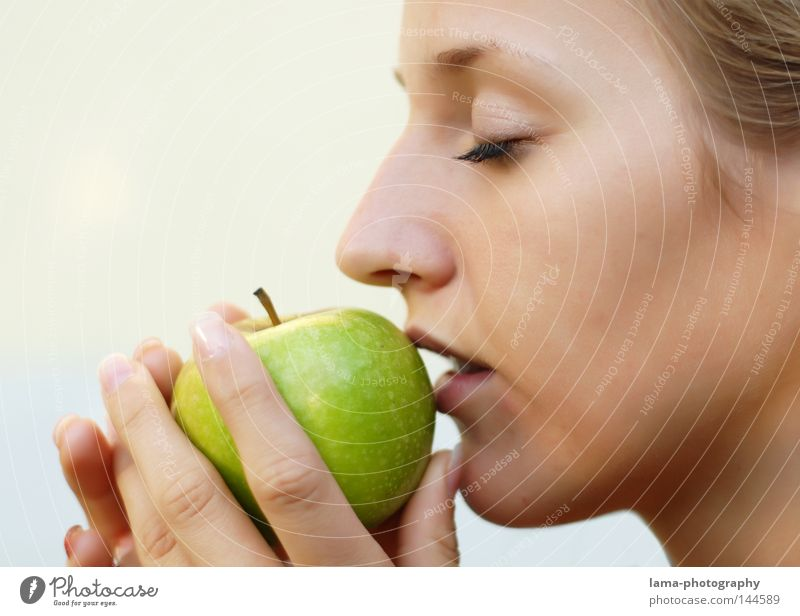Woman Nature Hand Green Beautiful Face Eyes Feminine Life Nutrition Emotions Food Dream Eating Healthy Fruit