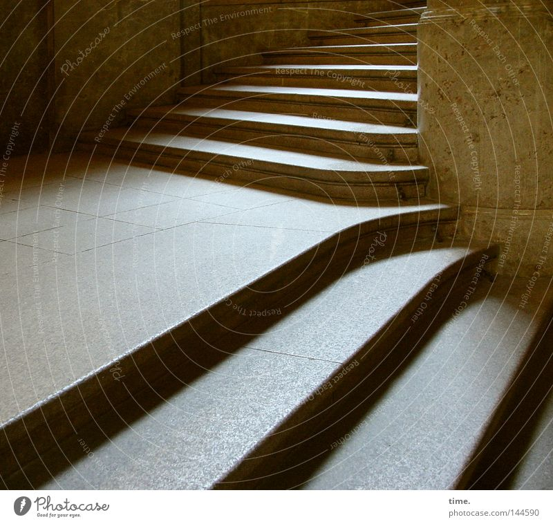 Stages of the decision Manmade structures Stairs Stone Bright Tall Above Pure Downward Deep Landing Upward Turnaround Colour photo Subdued colour Interior shot