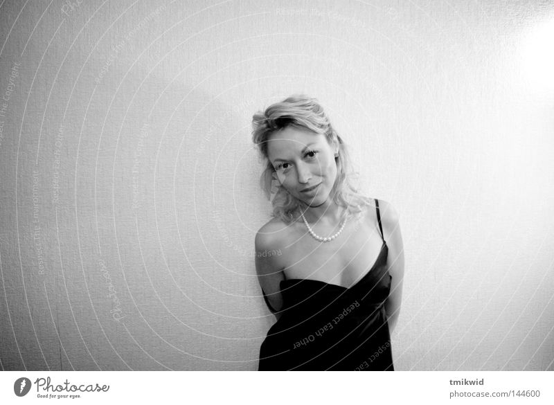 Solitude 2 Woman Neck Dress Black Blonde Smiling