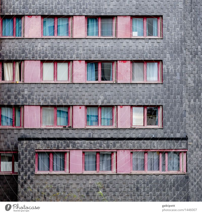 colored shades of gray Ihme Center Hannover Germany Town Downtown Outskirts House (Residential Structure) High-rise Building Architecture Facade Window Broken