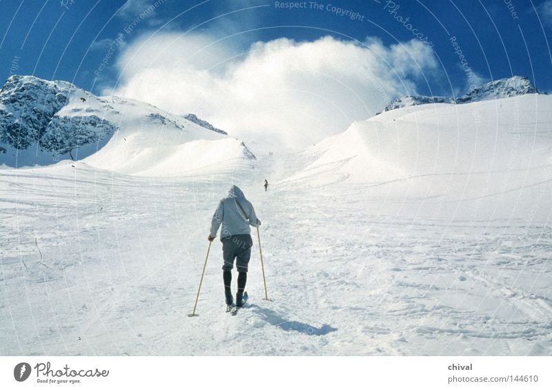 Winter Vacation & Travel Clouds Fog Skiing Tracks Alps Skis Austrian Alps Effort Incline