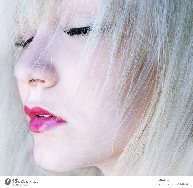 Woman Red Face Cold Hair and hairstyles Think Mouth Bright Skin Blonde Pink Nose Closed Lips Frozen Eyelash