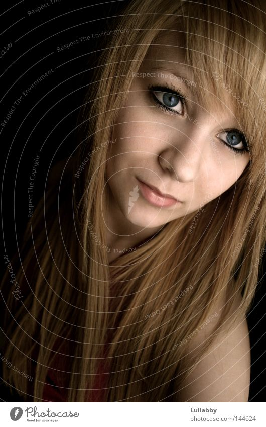 Woman Blue Face Eyes Hair and hairstyles Mouth Blonde Nose Long Shoulder Bangs Copper