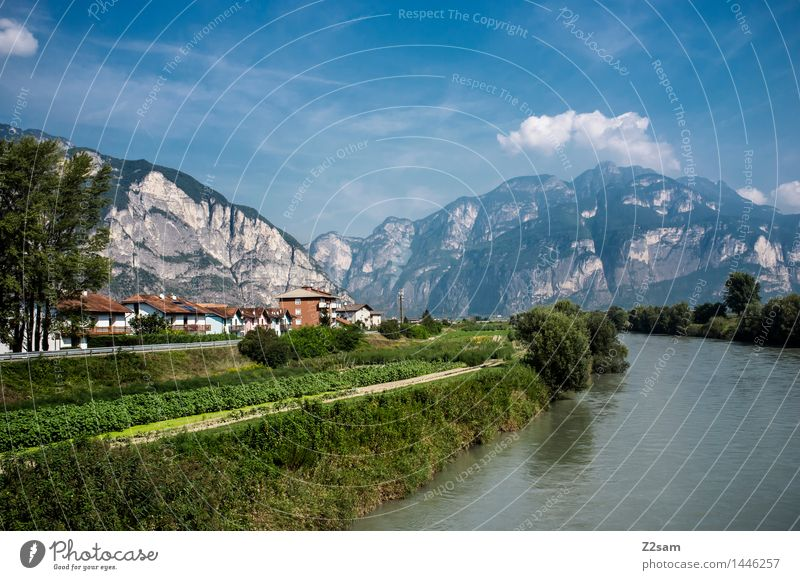 South Tyrol Nature Landscape Sky Sun Summer Beautiful weather Alps Mountain River Village Fresh Sustainability Natural Calm Relaxation Colour Vacation & Travel