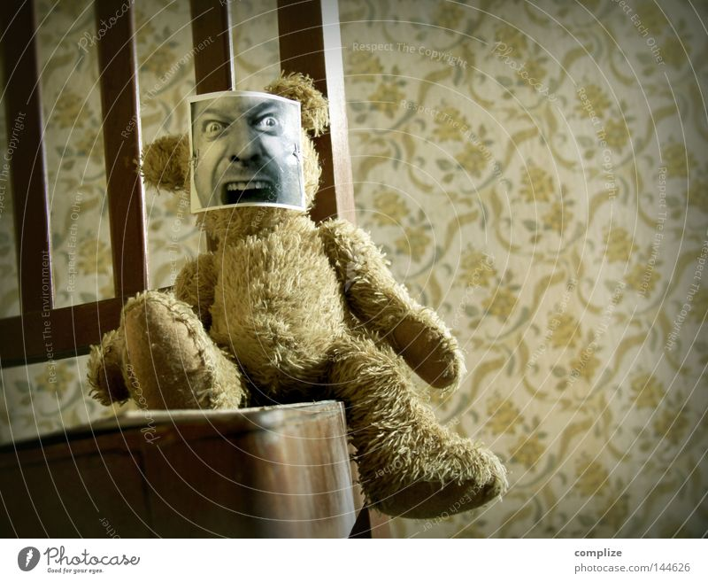 They want your soul Colour photo Interior shot Copy Space right Playing Chair Wallpaper Children's room Carnival Film industry Video Animal Mask Teddy bear