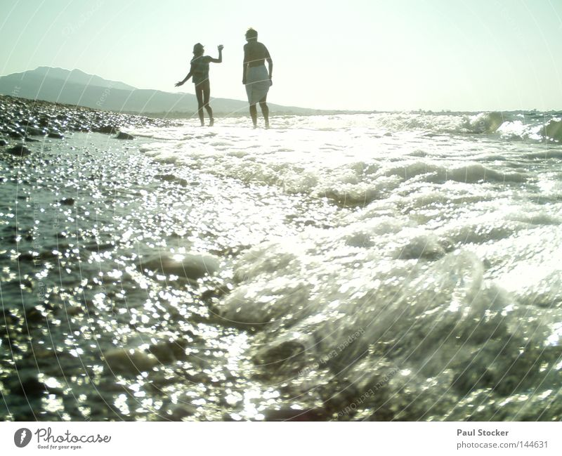 Woman Human being Child Water Girl Sun Summer Ocean Beach Coast Lake Waves Swimming & Bathing Drops of water Happiness River