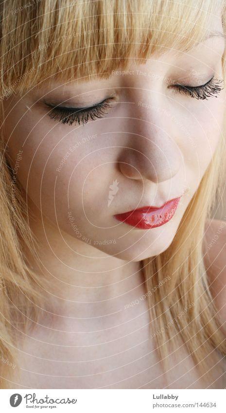 Woman Red Face Eyes Hair and hairstyles Blonde Nose Lips Eyelash Bangs