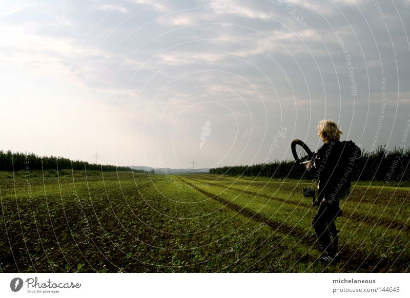Youth (Young adults) Summer Joy Far-off places Playing Horizon Field Bicycle Future Longing Doomed