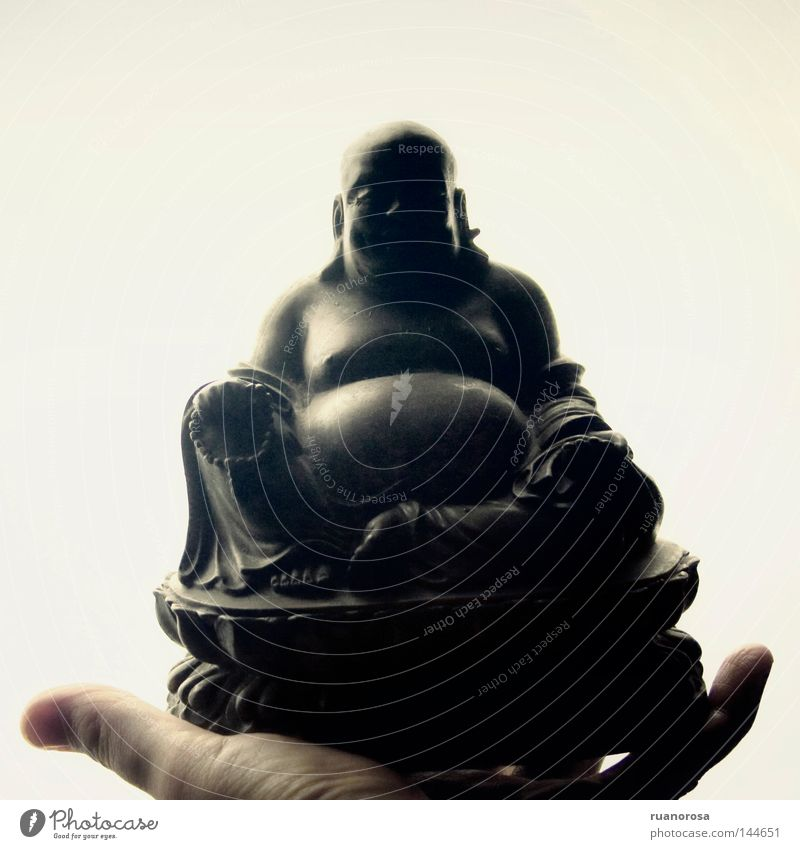 Hotei Buddha Statue Hand Cigar Buddhism Shintoism Art Decoration Culture Offer Give Indicate Shadow White Near and Middle East China Illustration