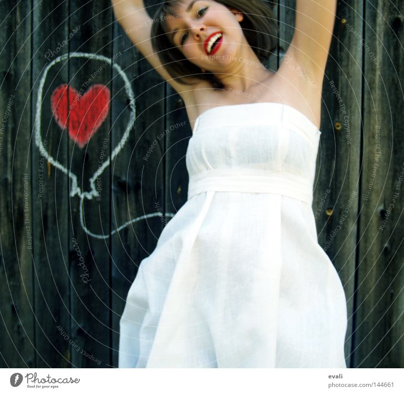 Loved Joy Summer Wedding Woman Adults Clothing Dress Balloon Heart Laughter Draw Jump Red White Earmarked Hop red lips loved happy Portrait photograph