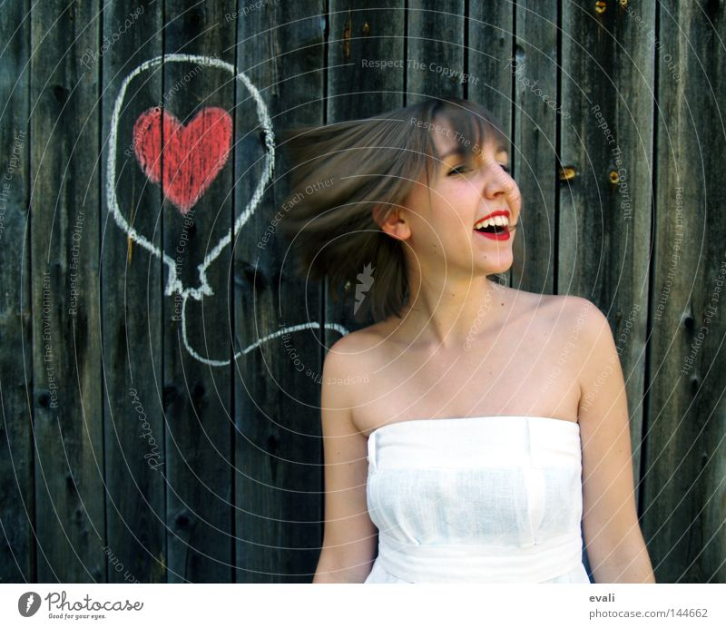 Loved Portrait photograph Dress White Woman Red Balloon Earmarked Clothing red lips loved Heart Draw Joy happy Laughter Summer Wedding