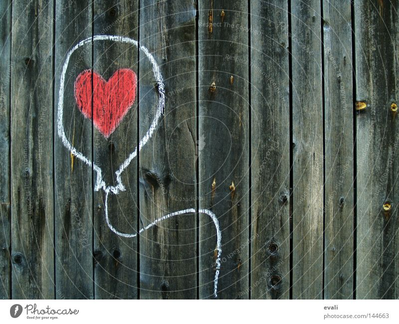 White Red Love Wood Heart Balloon Draw Chalk Wood flour