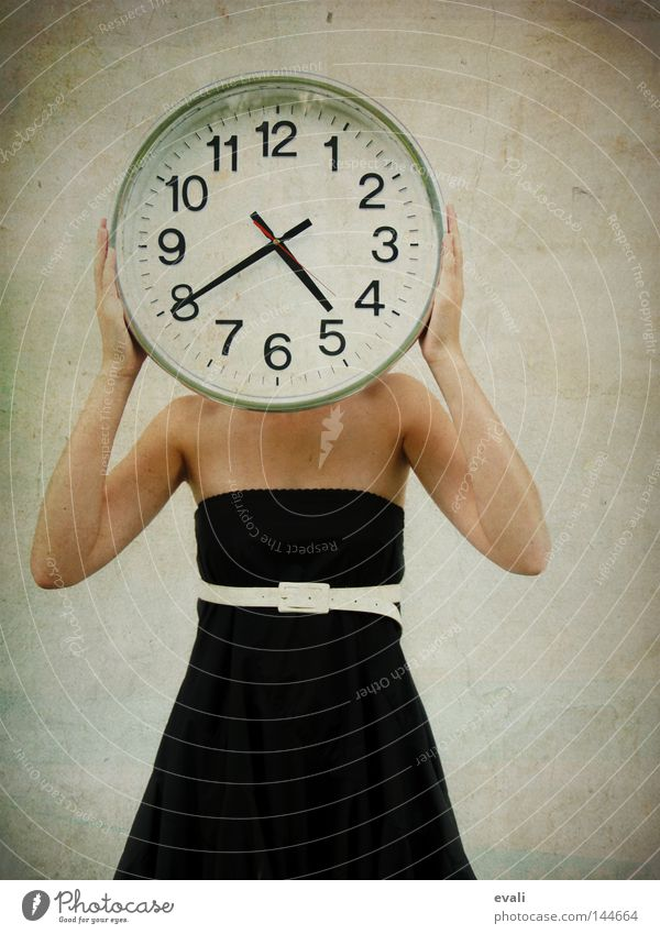 impatient Clock Woman Adults Clothing Dress Belt Wait Black White Date Time Strait Impatience Colour photo Portrait photograph