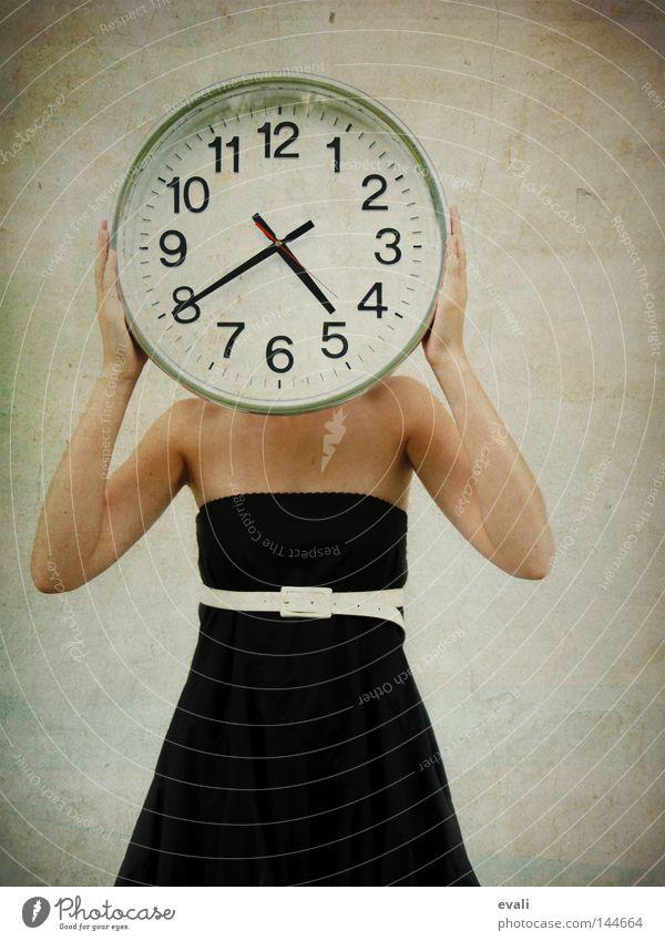 Woman White Black Adults Time Clock Wait Clothing Dress Date Human being Belt Strait Impatience