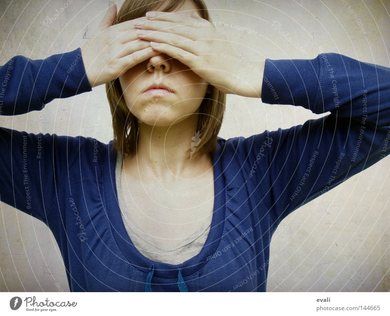 Shy Portrait photograph Hand Timidity Woman hands face Blue keep an eye out shy Hide