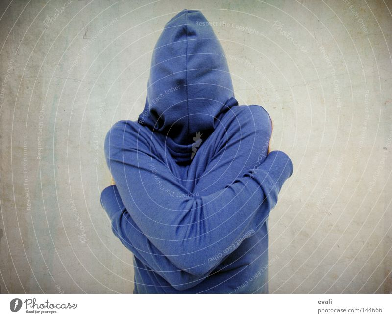 Shy Portrait photograph Timidity Hooded (clothing) Embrace Hide shy Blue Fear scared