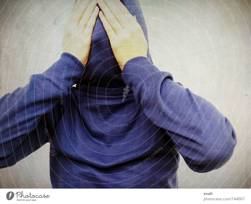 Shy Portrait photograph Timidity Hooded (clothing) Hand Hide shy hands Blue Fear scared