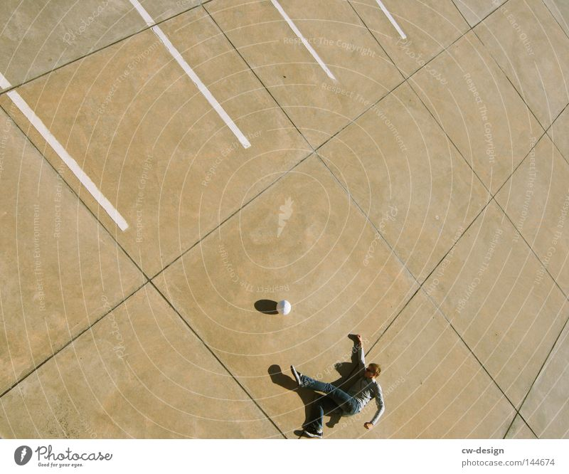 Human being Man Summer Calm Cold Sports Playing Stone Line Bright Leisure and hobbies Walking Flying Concrete Soccer Arrangement