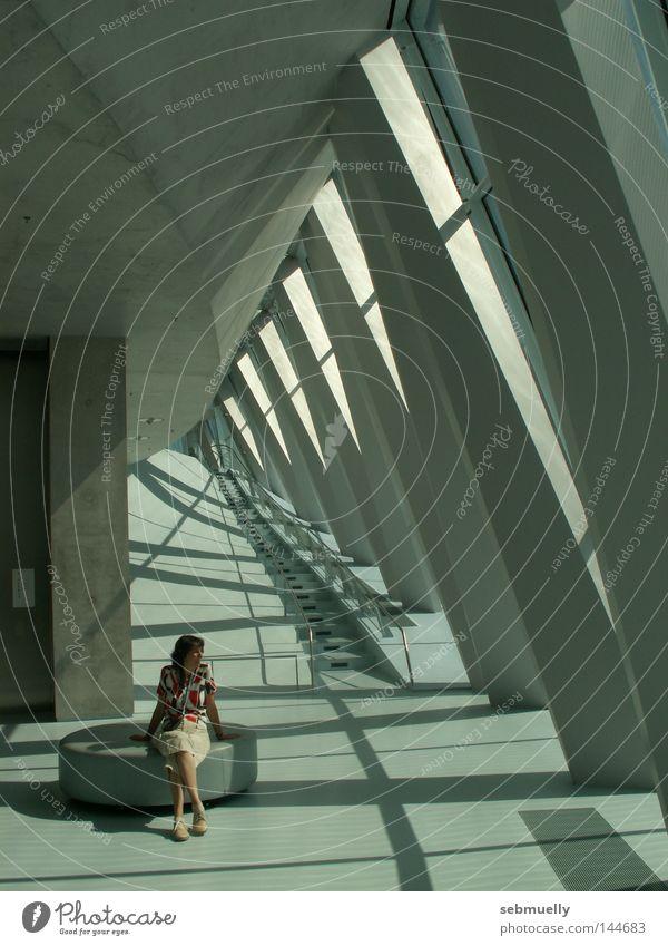 Shadow-Existence Light Concrete Break Woman Architecture shadow un-studios Mercedes Mercedes Museum Stairs Sit