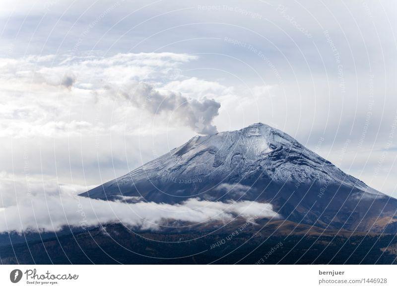 smoky mountain Environment Nature Landscape Air Clouds Summer Peak Snowcapped peak Volcano popocatépetl Smoking Cold Blue White Power Smoke column of smoke