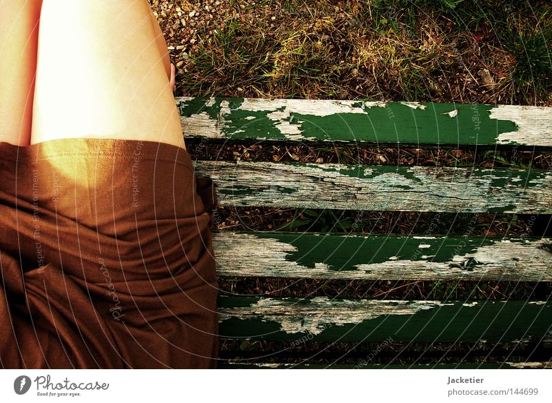 Green Summer Emotions Stone Feet Legs Brown Wait Lawn Bench Dress Trust Wrinkles Toes Varnish Pebble