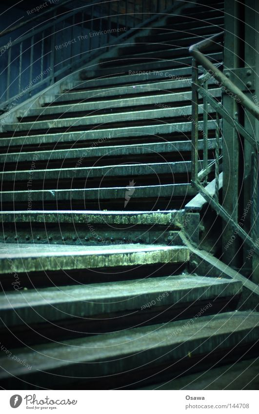 Old Calm Dark Above Empty Stairs Corner Derelict Under Night Train station Still Life Curve Upward Handrail Downward