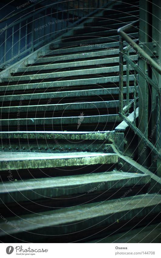 Old Calm Dark Above Empty Stairs Corner Derelict Under Night Train station Still Life Curve Upward Handrail Downward
