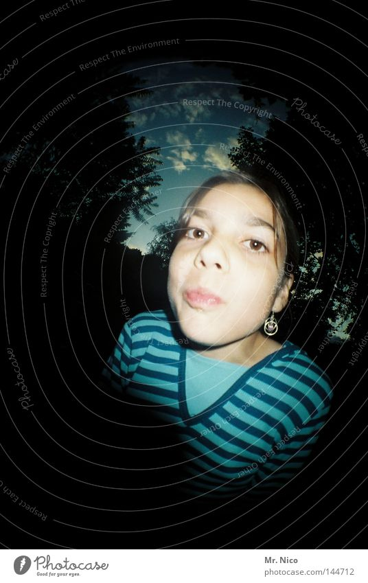 peekaboo Girl Lips Pout Upper body Stripe Striped Black Kissing Cheek Clouds Tree Evening Dark Lomography Hello Facial expression Child Fisheye Face Mouth Nose