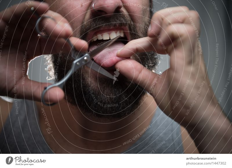 Snap tongue off. Scissors Human being Masculine Young man Youth (Young adults) Man Adults 1 30 - 45 years Underwear Undershirt Brunette Facial hair Beard Hair