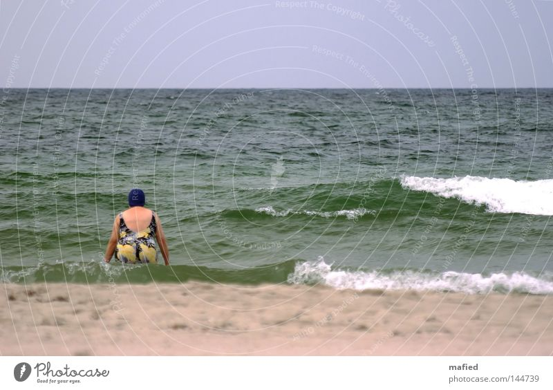 End of the bathing season Ocean Swimming & Bathing Baltic Sea Summer Cold Wind Gray Waves Water Blue Green White Woman Bathing cap Swimsuit Freeze Autumn