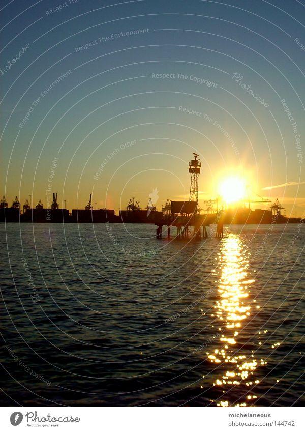 sunset in early spring Hamburg Port of Hamburg Sunset Sky River Elbe Crane Harbour Horizon Physics Esthetic Waves Blue Yellow Tower Water Island Warmth