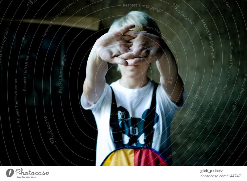 hands. Human being Hand Girl Red Black Yellow Work and employment T-shirt Things Death's head Animal skull Child Smock