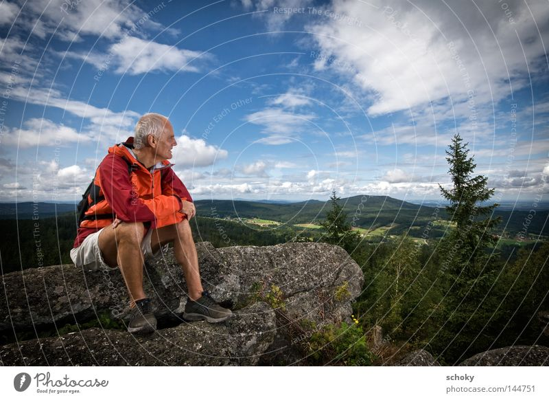 Man Blue Green Vacation & Travel Summer Human being Clouds Loneliness Far-off places Relaxation Mountain Senior citizen Orange Leisure and hobbies Sit Hiking