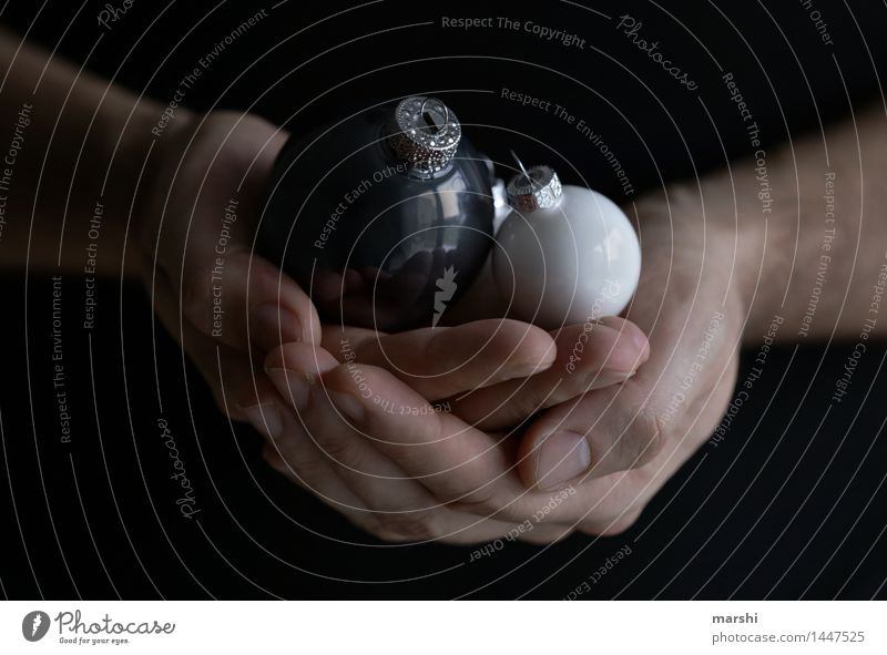 Christmas memory Human being Hand 1 Sign Emotions Moody Glitter Ball Christmas & Advent Sphere Memory Decoration White Seasons Anticipation Christmas mood