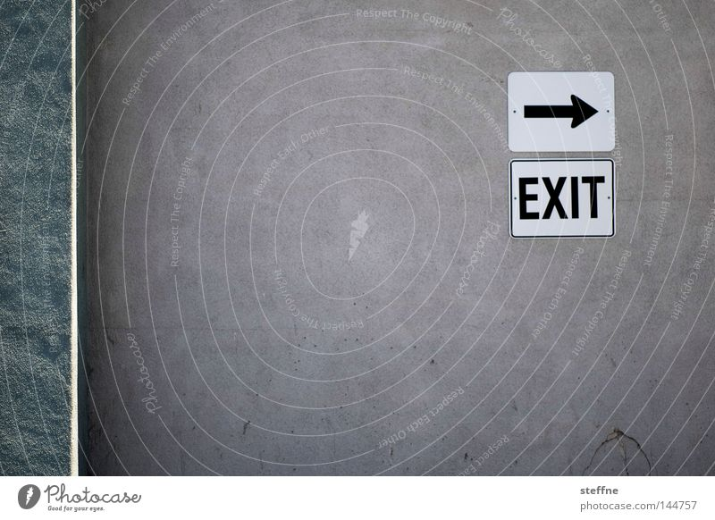You're out! Emergency exit Way out Road marking Signs and labeling Arrow Wall (building) Direction Signage Detail Leisure and hobbies USA exit strategy