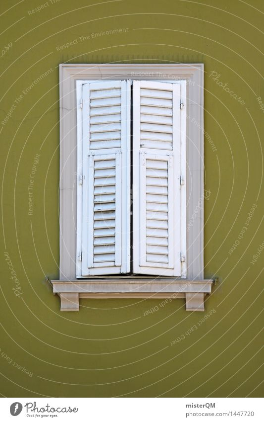 finestra XII Art Esthetic Window Shutter Window board View from a window Window transom and mullion Window frame Green White Architecture Closed Colour photo