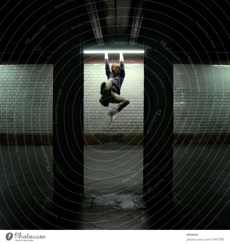 Human being Man Playing Jump Lamp Tunnel Hang