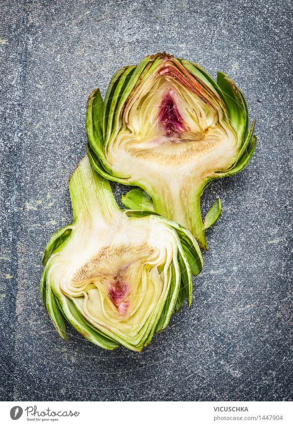 Two halves of artichoke Food Vegetable Nutrition Organic produce Vegetarian diet Diet Lifestyle Style Design Healthy Eating Nature Artichoke Food photograph
