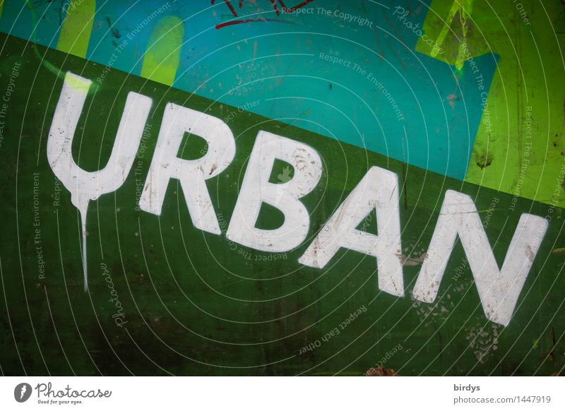 urban Wall (barrier) Wall (building) Sign Characters Graffiti Original Positive Trashy Town Green Turquoise White Society Culture Living or residing